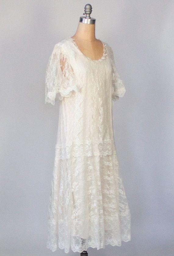 Vintage cream lace dress drop waist dress flapper for Lace drop waist wedding dress