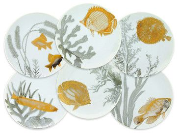 Set of Six Aquarium Appetizer Plates - traditional - Plates - FRONTGATE