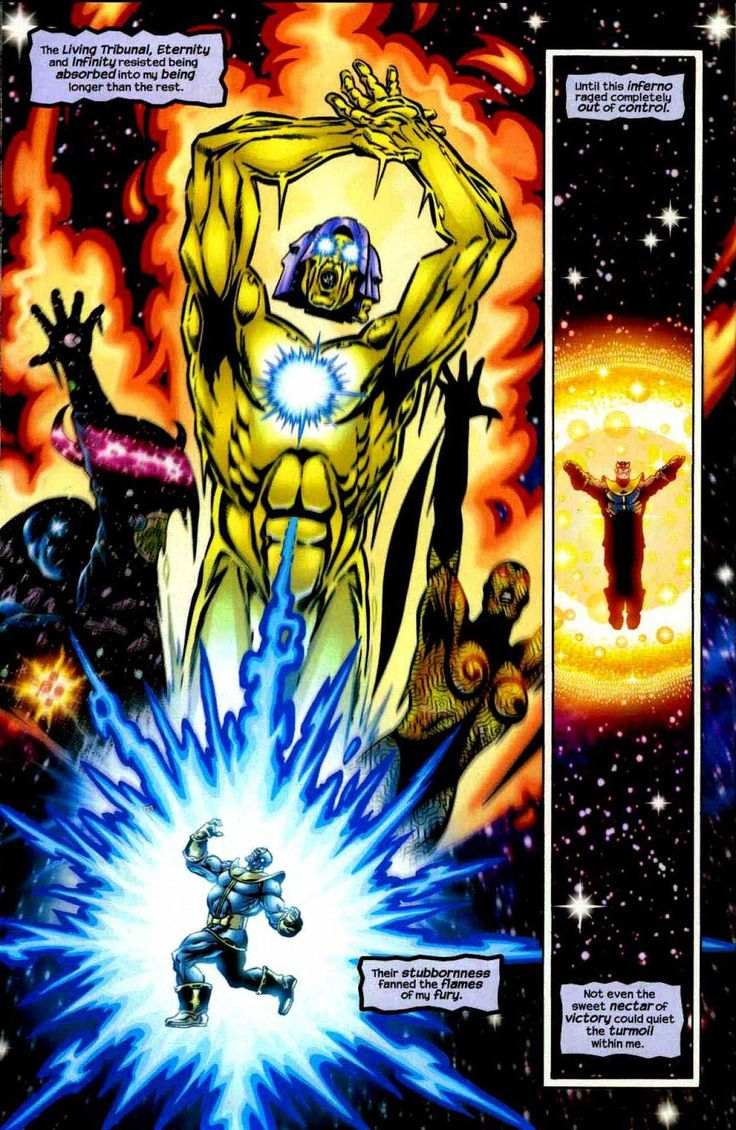 Thanos, The heart of the universe VS Living Tribunal, Eternity and Infinity.