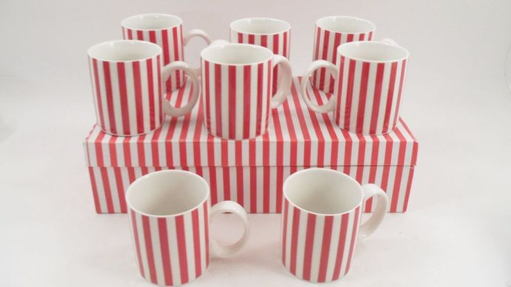 8 Temptations by Tara Candy Cane Red & White Stripe Christmas Holiday Mugs Cups #TemptationsbyTara