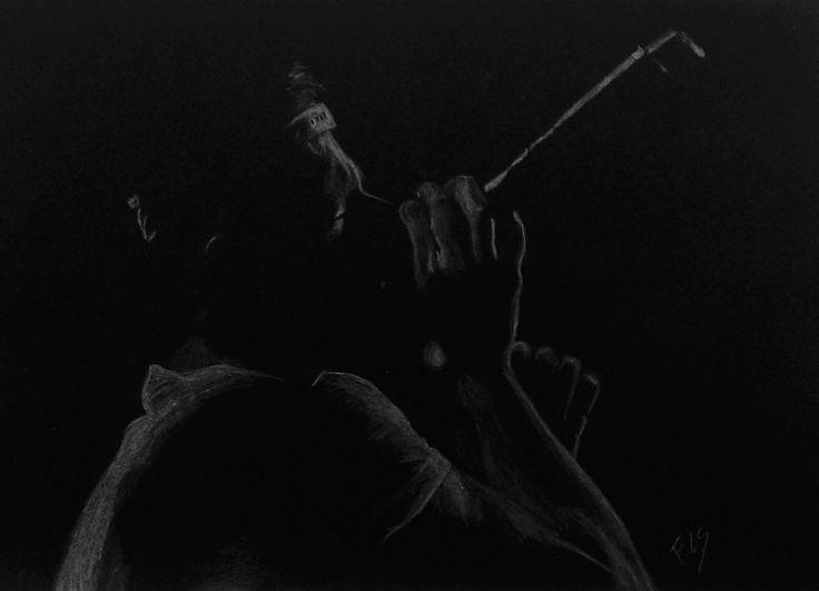 """White on black"" drawing"