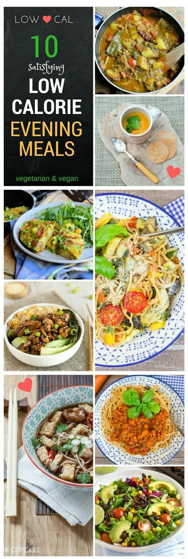 10 low calorie meals that are both tasty and filling. Try swapping some main meals with lower calorie main meals and you will start to notice the weight drop of. It's a slow but steady way of losing weight without noticing. These recipes are all vegetaria