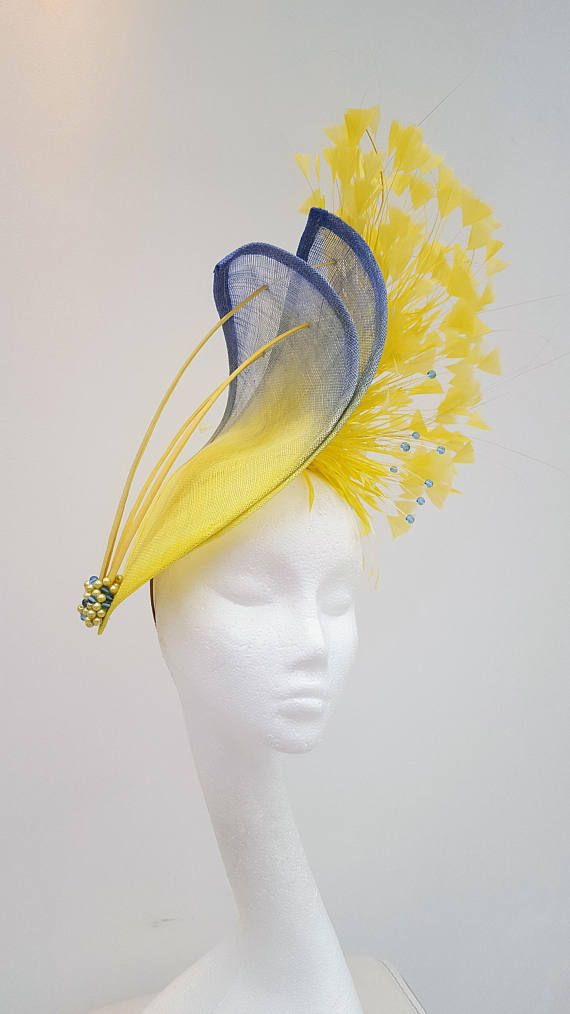 Yellow Hatinator Blue Hat Fascinator Mother Of The