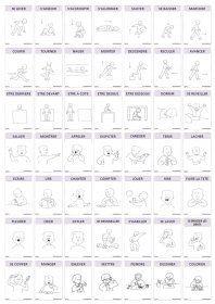 Imagier thématique : les actions Un imagier thématique proposant 90 cartes et affiches sur le thème des actions présentées par des verbes.