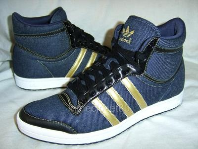 And these! NEW ADIDAS TOP TEN HI SLEEK SERIES WOMENS TRAINERS DENIM NAVY BLUE/GOLD/WHITE