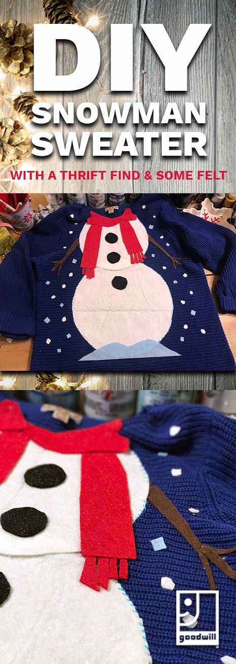 Start with a #thrifted #sweater and create some festive fashion to wear to your upcoming #holiday parties! Visit your local #Goodwill and start making your holidays something special. #diy #snowman #uglychristmassweater #uglysweater #thrift #craft