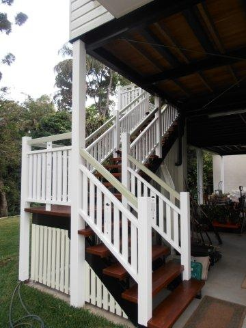 Timber stairs & balustrade. Classic Queenslander style timber stairs. Brisbane. Queenslander house lift, build under & complete renovation. www.empiredesigns.com.au
