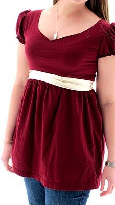 """Sewing tutorial: Refashion an oversized t-shirt into a fitted, empire-waist top by Amie on """"Kitty Cats and Airplanes"""" blog"""