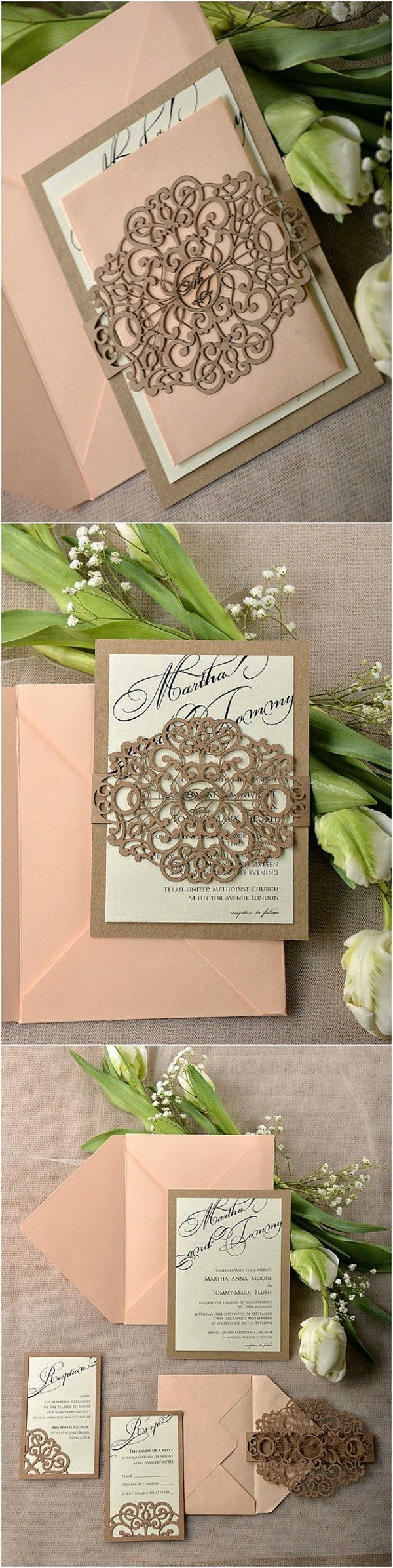 Rustic Peach Belly Laser Cut Band Wedding Invitation