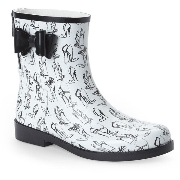 JESSICA SIMPSON White & Black Raila Rain Boots ($40) ❤ liked on Polyvore featuring shoes, boots, blacks, black wellington boots, wellington boots, wellies boots, patterned rain boots and rain boots