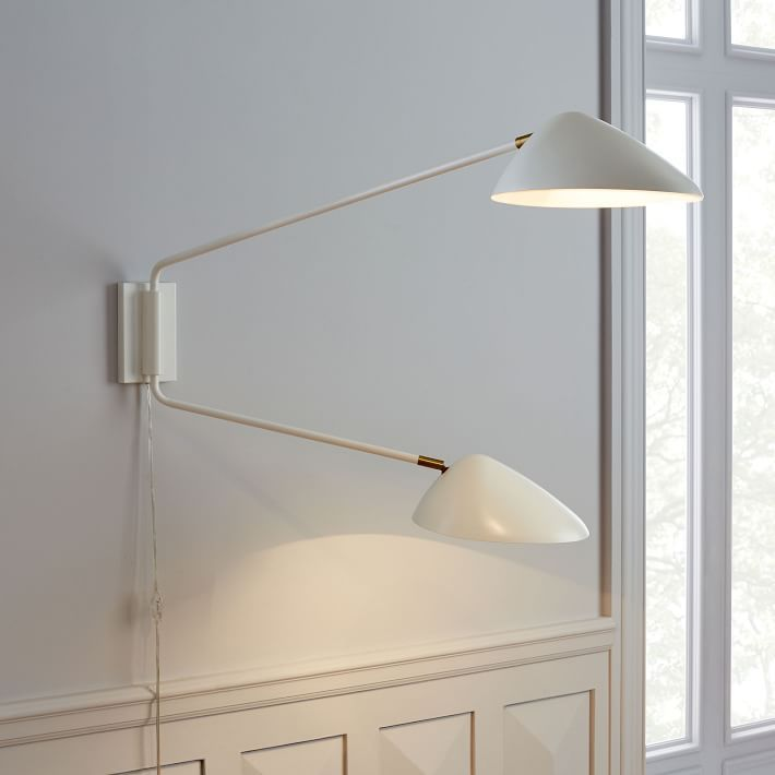 White Double Arm Wall Sconce Serge Mouille Wallsconces Wall