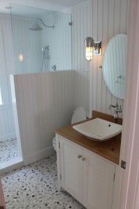 shower, PVC beadboard. Have used this as wainscoting in baths, but not actually in shower. Looks great and easy install.