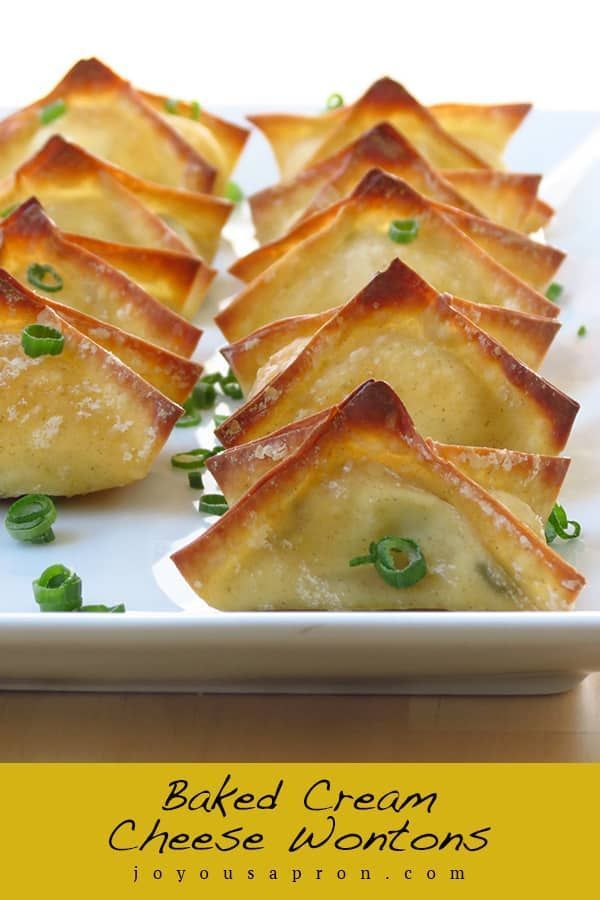 Baked Cream Cheese Wontons A Favorite Chinese American Appetizer Check Out This Baked Not Fried Version Wonton Recipes Cream Cheese Wontons Cheese Wontons