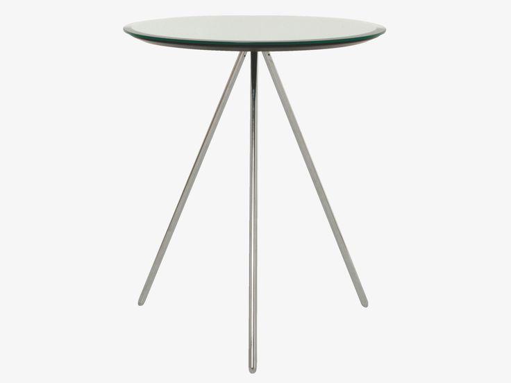 SPARKLE CLEAR Glass Round table with tripod legs - Versatile furniture- HabitatUKD42 H50