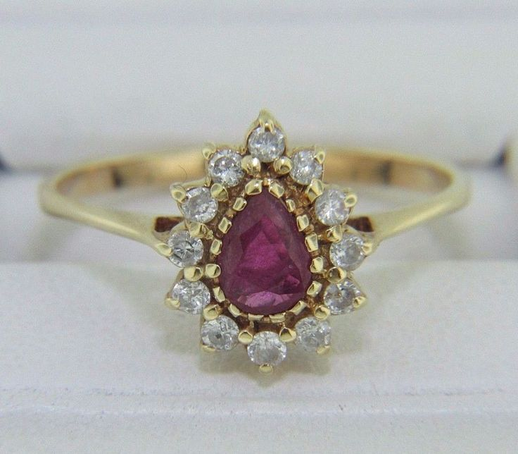 VINTAGE PEAR CUT RUBY & ROUND CUT DIAMOND HALO RING IN 14K YELLOW GOLD SIZE 8 * #Halo