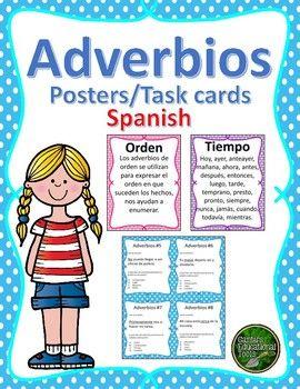 Adverbios: Este producto consiste de 18 posters y 24 tarjetas de opción múltiple donde el estudiante tendrá la oportunidad de leer e identificar el tipo de adverbio usado en la oración. Los adverbios incluidos son los siguientes: Modo, duda, lugar, tiempo, negación, afirmación, orden, cantidad y comparación.