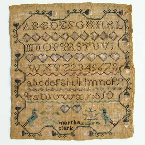 C1800 New England Antique Needlework Sampler Martha Clark Northampton Mass