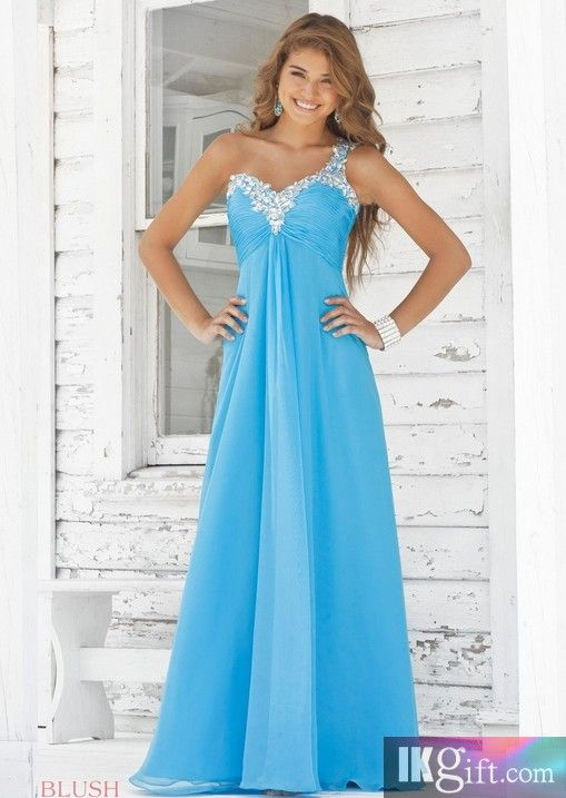 A line One Shoulder Long Dress. Great for Bridesmaids.