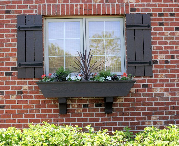 Wooden shutters and flower box the house of nix pinterest shutter images flower and wood - Red brick house black shutters ...