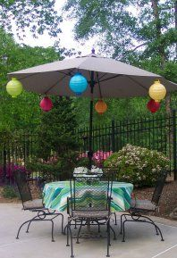 Battery Operated Paper Lanterns Provide A Splash Of Color By Day And Lights  By Night. Outdoor Party LightingOutdoor PartiesPatio Umbrella ...