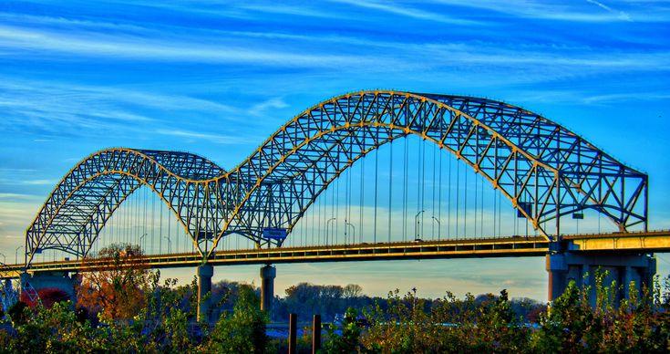 Memphis, TN - The iconic Hernando DeSoto Bridge over the Mississippi River.