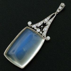 Art Deco Huge Platinum, Diamond & Cabochon Moonstone Pendant, ca. 1920