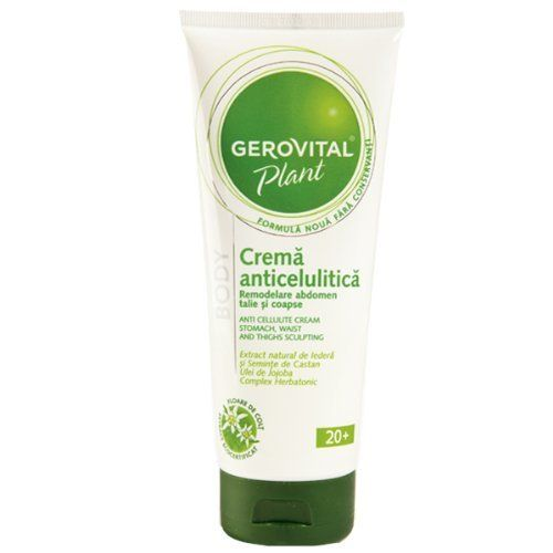 GEROVITAL PLANT ANTI-CELLULITE CREAM by GEROVITAL PLANT. $26.95. GENUINE GEROVITAL PLANT NATURAL CREAM. CALMS DOWN INFLAMMATIONS, TONIFYING CELLULITE AFFECTED AREAS. REDUCES ADIPOSE DEPOSITS, ELIMINATES TOXINS. PARABEN FREE, PRESERVATIVES FREE. ORGANIC EXTRACTS OF EDELWEISS, IVY AND CHESNUT FROM THE SWISS ALPS. Action: It is a modern product, created according to the latest trends in preventing and fighting against cellulite. The natural extracts of edelweiss, ...