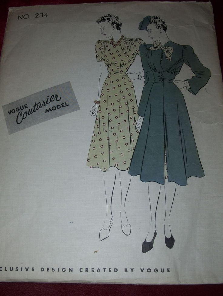 1939 VOGUE COUTURIER MODEL #234. LADIES GORGEOUS TWO STYLE FROCK. WONDERFUL FOR HEAVY PATTERNS SUCH AS COSTUME AND BRIDAL. There are many internet sites showing you how to enlarge or make patterns smaller. | eBay!