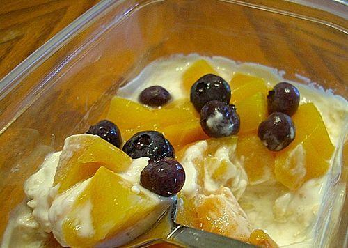Refrigerator Yogurt Oats    First batch: 1/2 cup oats, 3/4 c vanilla yogurt, 1/4 cup skim milk, and 2 tbsp strawberry preserves.
