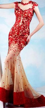 Red and Cream Formal Dress