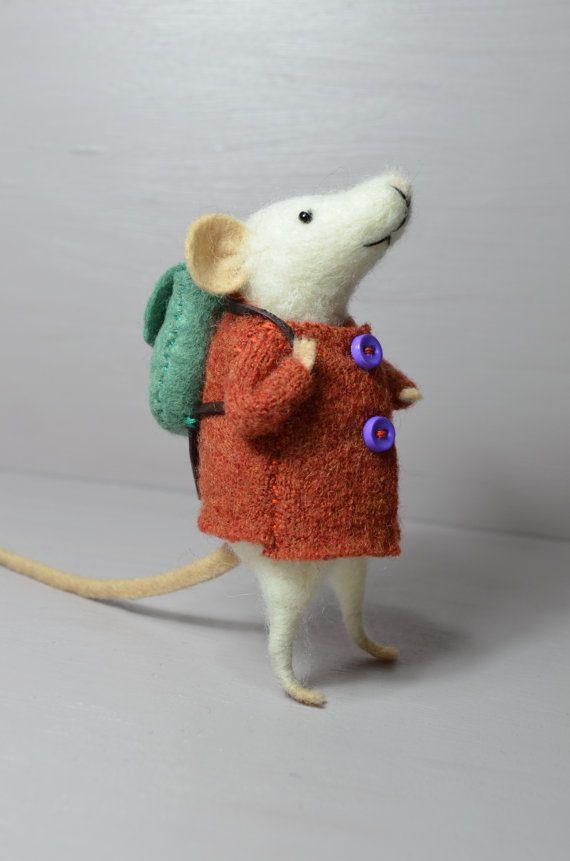 Little Traveler Mouse unique needle felted by feltingdreams
