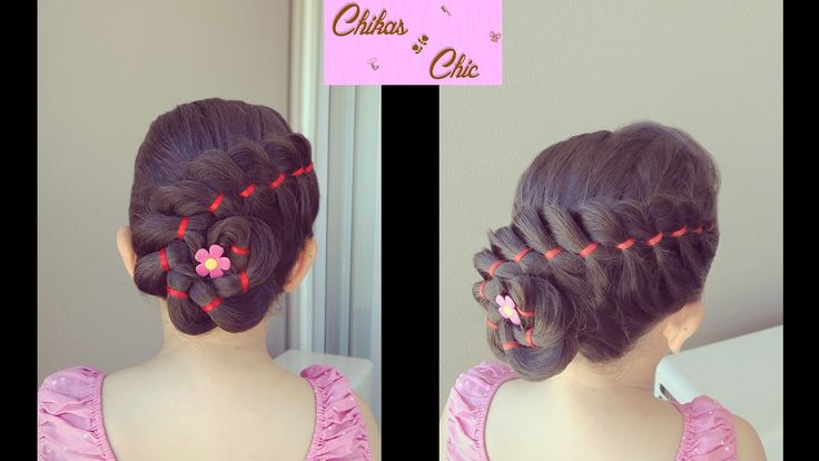 Trenza de 4 Divisiones con Cinta y Flor - 4 Strands Ribbon Braid with Fl...