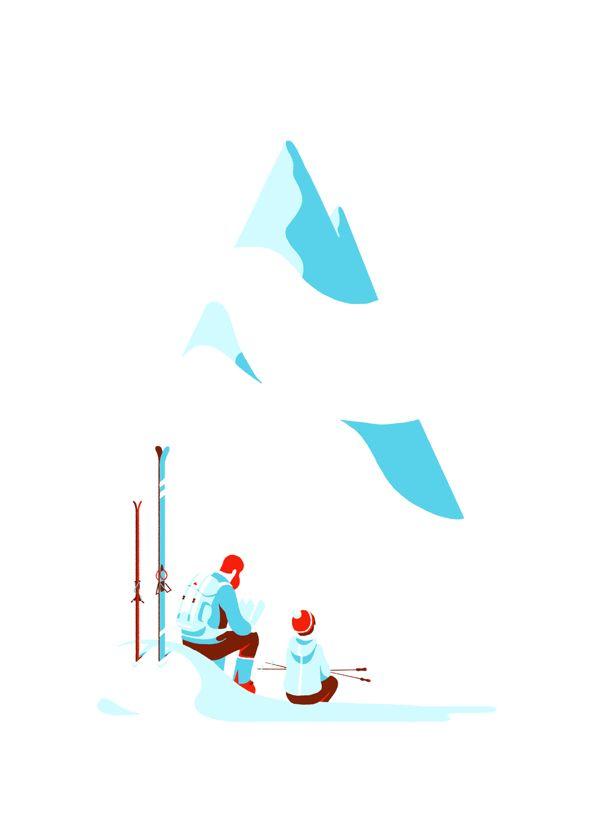 Tom Haugomat, ilustra personajes sin rostro en entornos minimalistas
