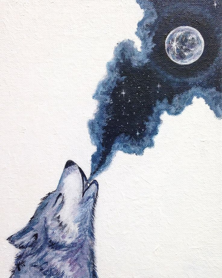 Calling The Moon-   8x10 acrylic painting, art print, watercolor, moon painting, wolf painting, moon art, wolf art, watercolor wolf, night sky, tattoo ideas, wolf tattoo, watercolor tattoo