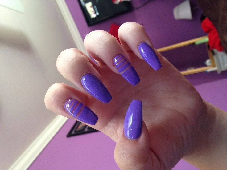 Purple coffin nails