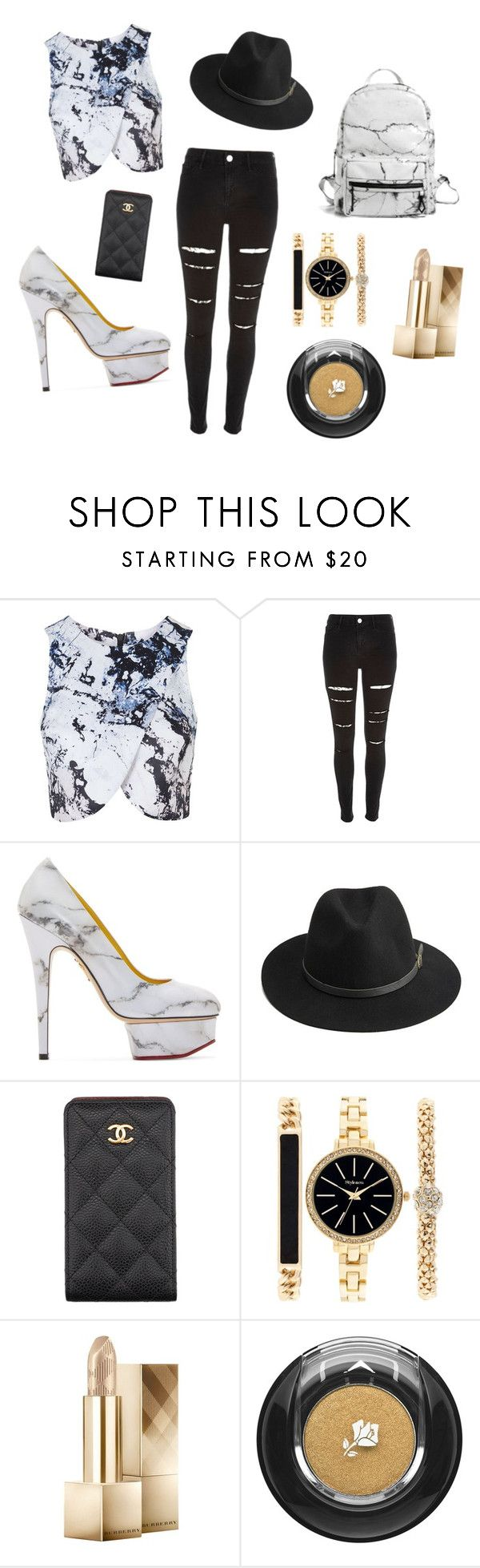 """Marble and gold theme"" by gabtez on Polyvore featuring Topshop, River Island, Charlotte Olympia, BeckSöndergaard, Chanel, Style & Co., Burberry, Lancôme and Eddie Borgo"