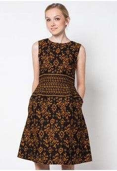 Ikat Printed Batik Flare Dress from ASANA in black_1