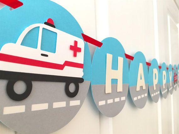 Emergency Vehicles Themed HAPPY BIRTHDAY Banner: by BubblyNewYork