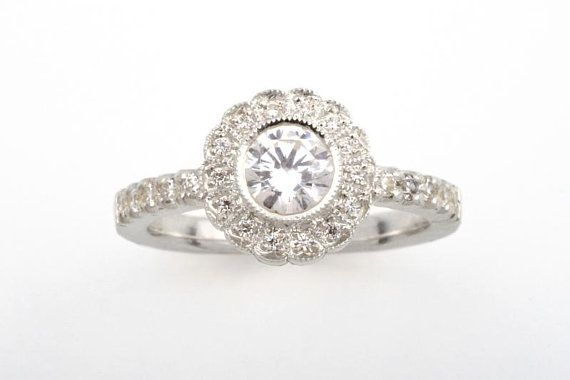 Grace Classy halo engagement ring. CaiSanni.