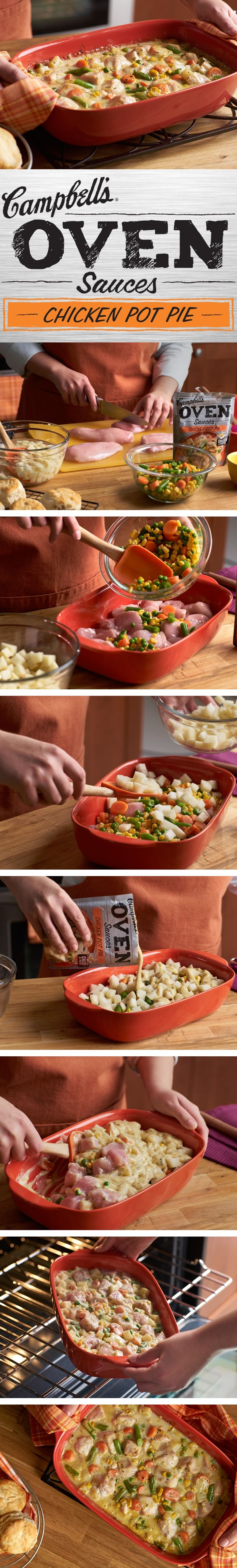This chicken pot pie dinner will be loved by everyone in your family, and the recipe is made easy with Campbell's Chicken Pot Pie Oven Sauces.