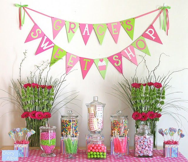 pink and green: Candy Buffet, Candy Shop, Birthday Parties, Birthday Sweet, Candy Theme Parties, Candy Bar, Parties Ideas, Parties Theme, Sweet Shops