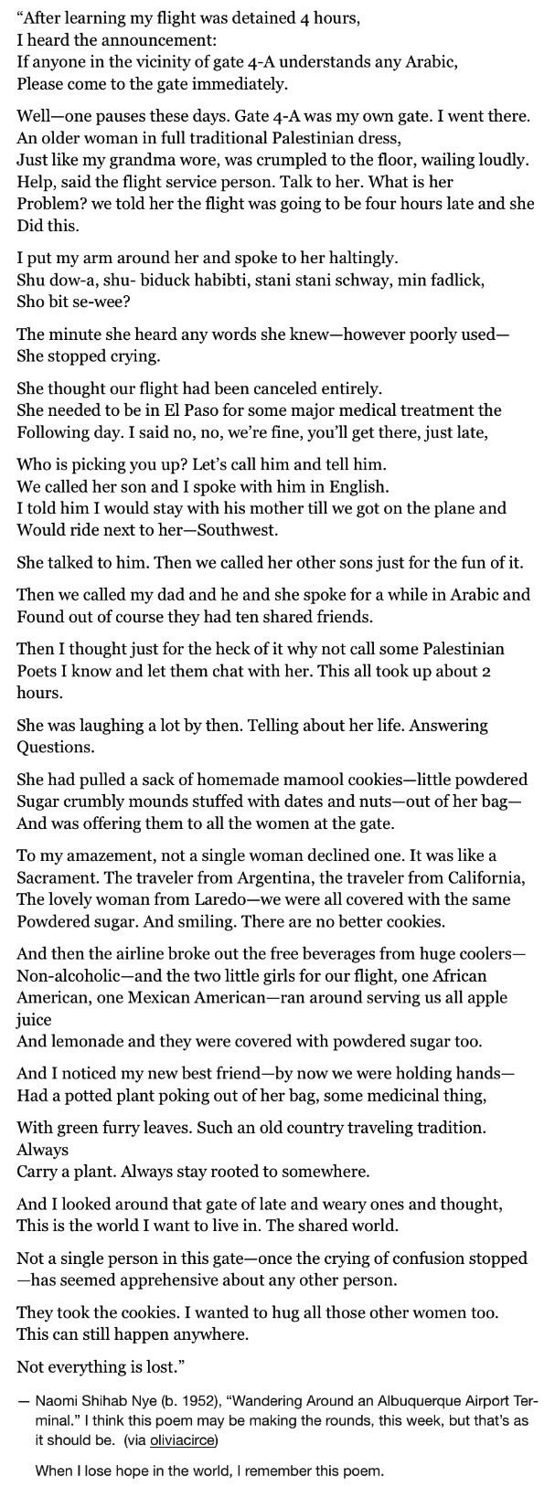 poem analysis by naomi shihab nye Naomi shihab nye (arabic: نعومي شهاب ناي  ), (born march 12, 1952) is a poet,  songwriter, and  her first collection of poems, different ways to pray, explored  the theme of similarities and differences between cultures, which would become  one.