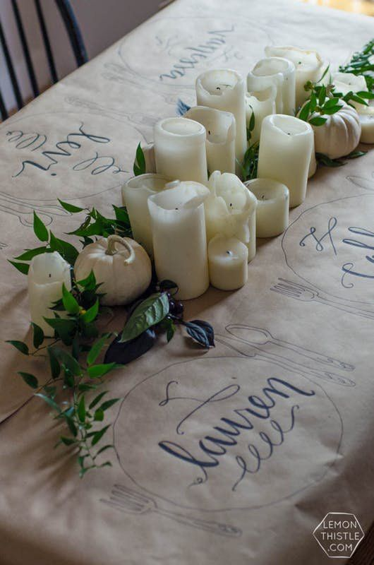 Quick DIYs for a Better Thanksgiving Table | Check out these projects from table coverings, to place cards, to centerpieces if you want to wow your guests without handing over all your free time.