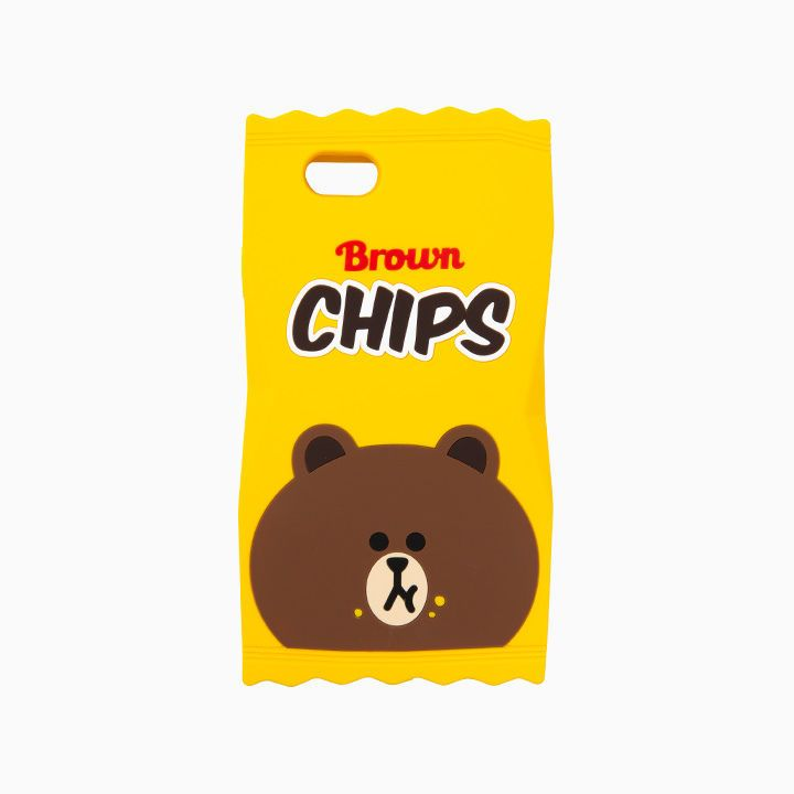 LINE FRIENDS Character iPhone 6 6S Silicone Case BROWN CHIPS Official Goods #LINEFRIENDS