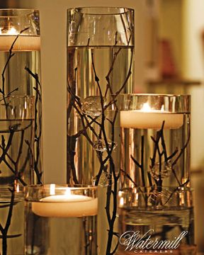 #Romantic candles with rustic branches are an easy #DIY Wedding decor idea
