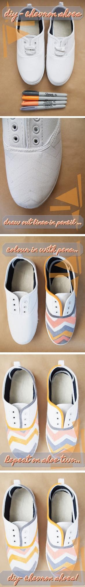 DIY Chevron shoes only red white and blue