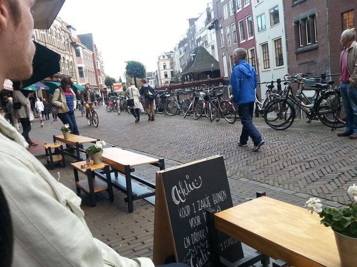 People watching from a cafe