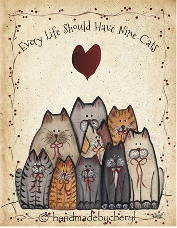 sounds like Cathy to me Cat Group Print Every Life Should Have Nine Cats