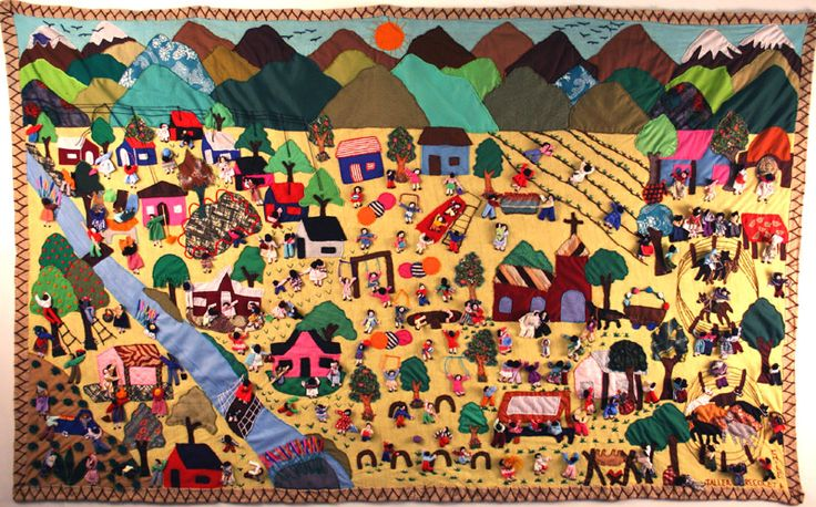 Arpilleras or cuadros, exquisitely detailed hand-sewn three dimensional textile pictures, illustrate the stories of the lives of the women of the shantytowns (pueblo jovenes) of Lima, Peru and provide essential income for their families.