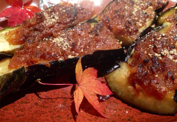 佐土原なす。宮崎は佐土原に伝わる伝統野菜。 田楽でいただきました。